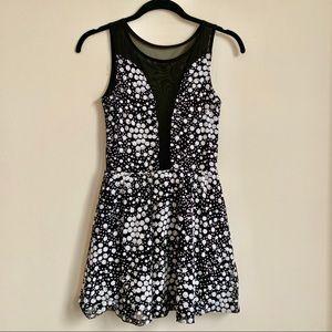 AKIRA | Sequin Mesh Black and White Skater Dress